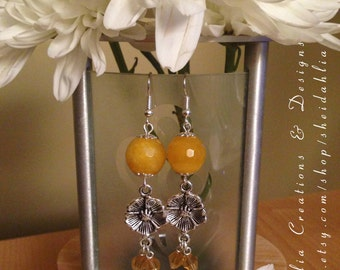 Yellow earrings- Yellow jade, Flower, Swarovski crystal, Dangle, Chandelier, Sunflower yellow,Buttercups, Yellow, Boho, Gift for her