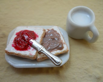Miniature PB and Jam Sandwich and a Cup of Milk