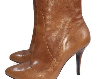 1990s Modern Vintage Brown Leather Booties Italian Leather