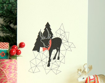 Instant Download | Printable Christmas Card | A Geometric Christmas | Geometric Christmas Rudolph