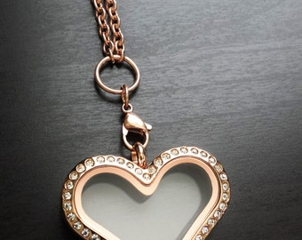 Rose Gold Heart Floating Locket-Stainless Steel-Crystal Face-Gift Idea For Women