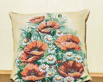 Pillow Cover, Decorative Pillow Cover, Pillow Case, Cushion Cover, Poppy, Tapestry Pillow, Throw Pillow, 15 x 15 Pillow Cover
