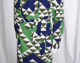 1970s Lanvin Op Art Mod Shirt Dress - Larger Size