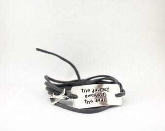 """inspirational quote bracelet with charm, """"the journey awakens the soul"""", inspirational jewelry, quote jewelry,  wrap bracelet, bird charm"""