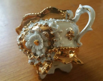 Antique Victorian Demi Tasse White And Gold Decoration