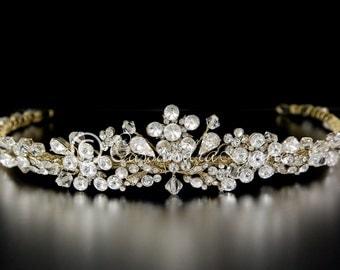 Wedding Bridal Tiara Gold Rhinestone and Crystal Headpiece