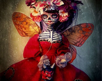 Beautiful Mortal Dia De Los Muertos Death Princess Doll Canon PRINT 587 Reproduction by Michael Brown