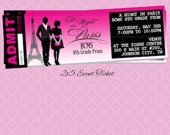 Paris Themed Event Ticket / Customizable Prom Dance Homecoming School Community Flyer Invitation / Winter in Paris Parisian Eiffel Tower