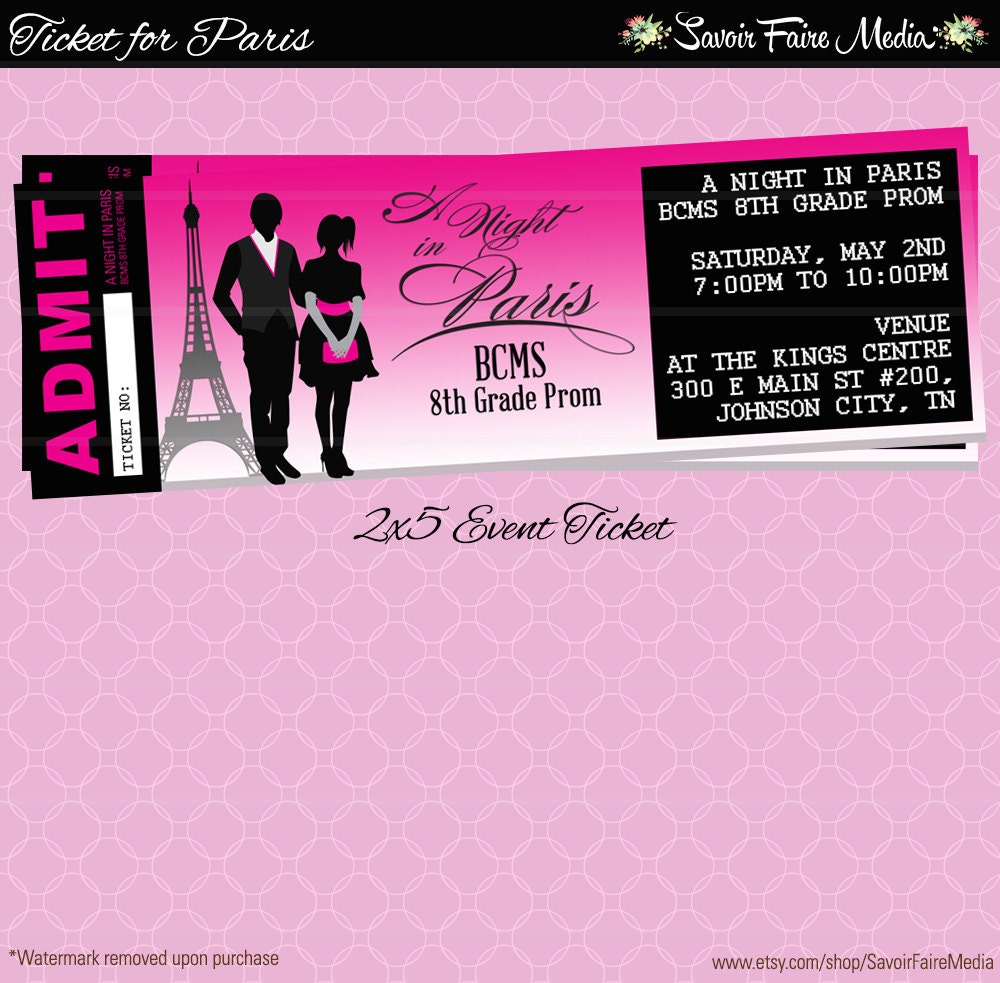 Paris Themed Event Ticket Customizable Prom Dance Homecoming – Prom Ticket Template