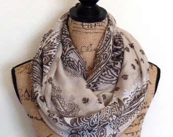 Women's Light Weight Spring Scarves, Womens Summer Infinity Scarves, Paisley Circle Scarves, Womes Bridal Shower Favors, Uptown Girl Co