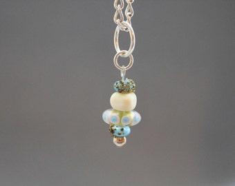 Cream Blue Pendant, Cream Pendant, beachy, Sterling Silver Pendant, Glass Lampwork, Blue Necklace, Choker, Layering Necklace