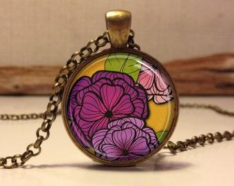 Floral necklace.  Flowers art pendant jewelry (Floral #3)