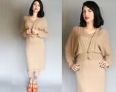1930's - 1940's Scandinavian Mocha Knit Dress & Jacket Set | M