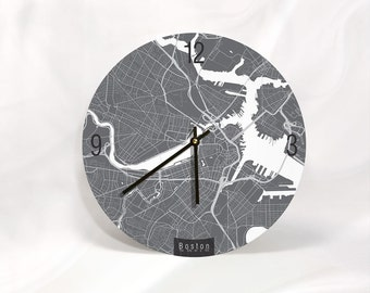 "BOSTON MAP ART Wall Clock - Unique Contemporary Art Wall clock - 11""  and 16""  Diameter"