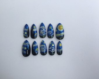 Starry Night Nails, Set of 10 Van Gogh Stiletto Nails