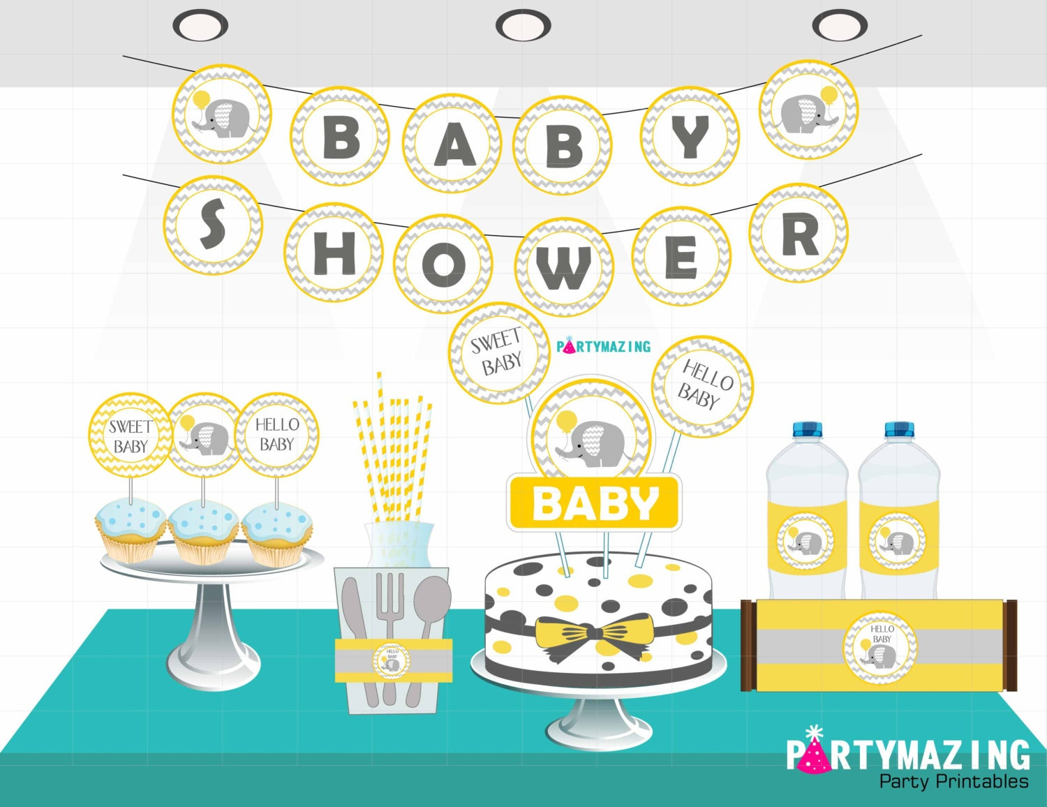 Yellow Elephant Baby Shower, Printable Party Collection, Party Decor Pack Instant download, Yellow Elephant Baby Shower Collection D162