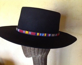 Afghanistan or Iraq Service Ribbon seed bead hatband with ultra suede backing // Veteran's hatband // men's hatband //women's hatband