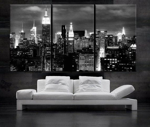 New York Nyc Skyline City Single Canvas Wall Art Picture: LARGE 30x 60 3 Panels Art Canvas Print Beautiful New By