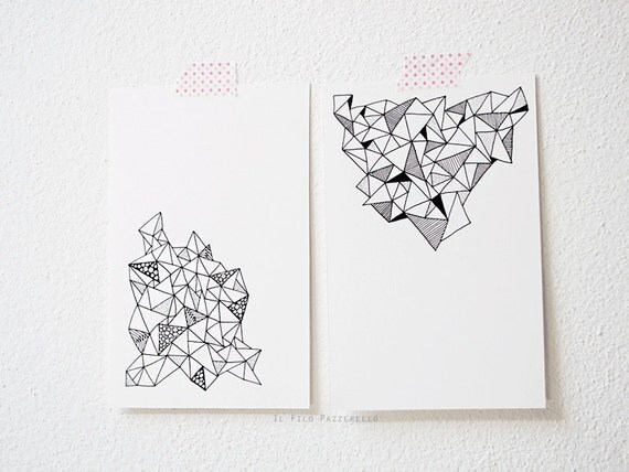 OOAK 2 hand-drawn postcards / zentangle / greeting cards / black and white / stationery / Hipster / triangles