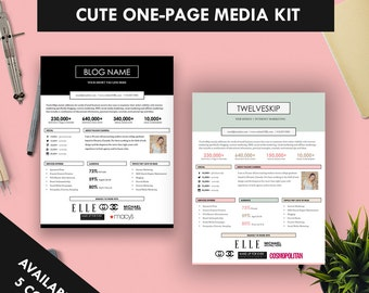 Cute One-Page Media Kit Template, Press Kit (Pastel + Black and White)
