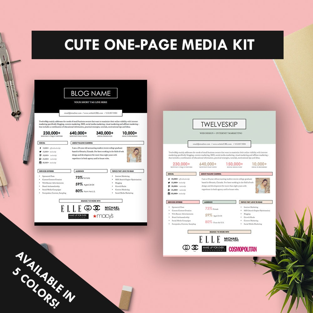 Cute one page media kit template press kit pastel black for Online media kit template