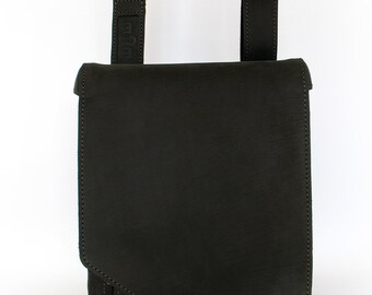 Flat A4 Size Matt Black Cowhide Messenger Bag for Laptop or iPad Vertical Upright Crossbody Adjustable Strap, Gunmetal Finish Fittings