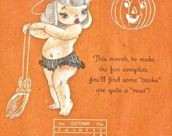 Vintage 1954 Halloween cute witch calendar JOL digital download printable instant image 300 dpi
