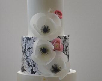 Wafer Paper Flower, 3 Wedding Cake Anemone, Anemone, Wedding cake Decoration