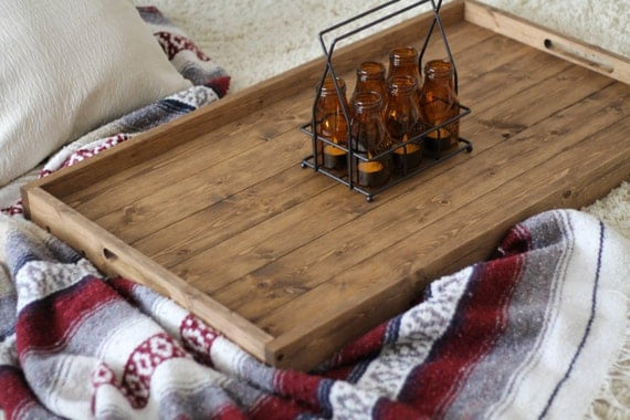 Rustic Wooden Ottoman Tray Ottoman Tray By DunnRusticDesigns