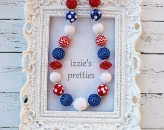 Red, White, Blue Chunky Necklace, Bubblegum Necklace, Photo Prop, Accessories, Jewelry, Girls Bling