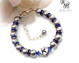 Personalized Baby Bracelet, Birthstone Baby Bracelet, Heart Initial Bracelet, Custom Baby Bracelet, Keepsake Gift, New Baby Gift