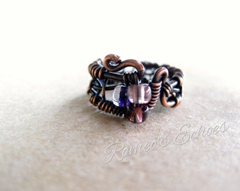 Handmade boho wire wrapped glass ring