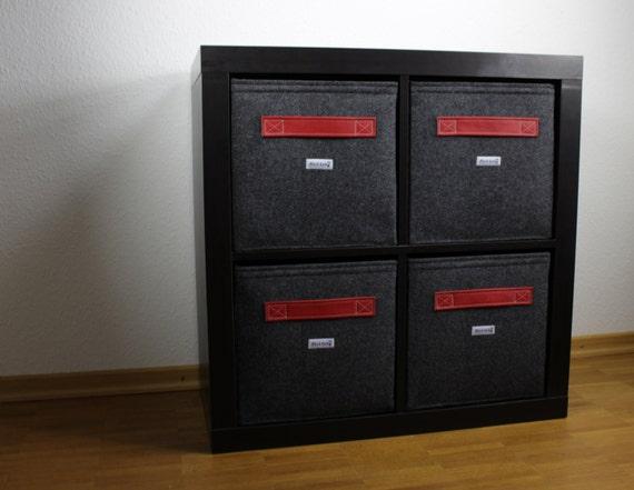 regalkorb aus filz mit leder griff farbe rot auch passend. Black Bedroom Furniture Sets. Home Design Ideas