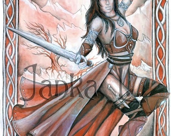 Original illustration - Lady Warrior, fantasy, special gift