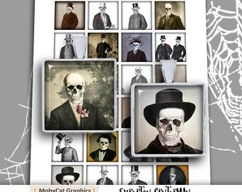 "Skeleton Gentleman Square Images 1x1"" and 1.5x1.5"" Printable images for Jewelry Making Digital Collage Sheet -  Instant Download"