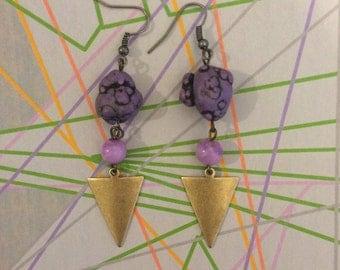 Purple howlite and Triangle Earrings, boho earrings, brass triangle pendants, purple stone bohemian earrings, gypsy jewelry, purple earrings