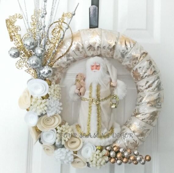 santa kranz weihnachtskranz winter kranzpoinsettias ribbon. Black Bedroom Furniture Sets. Home Design Ideas