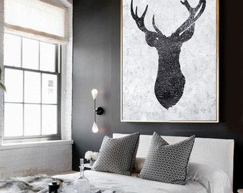 Large Abstract Painting, Hand Painted Reindeer Painting Minimalist Art, Abstract Art On Canvas, Modern Art. Black And White.