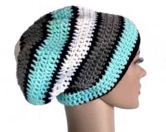 Dreadlock hat, pale turquoise beanie blue rasta hat, slouchy beanie
