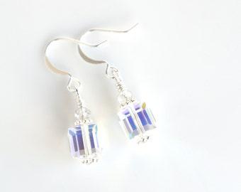 Clear crystal dangle earrings, Swarovski jewelry, crystal drop earrings, bridal jewelry, square earrings, wedding earrings, gift for her