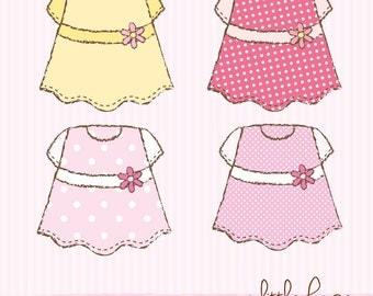 Little Dresses Digital Clip Art - PNG and JPG files instant download V.6