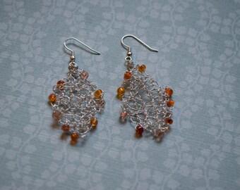 Orange Beaded Wire Earrings, Handknit