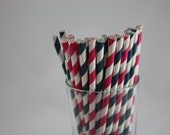 "25 - Hot Pink and Navy Blue Party Paper Straws - 7.75"" - Pink and Navy - Navy and Pink - wedding shower - baby shower - birthday party"