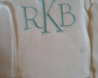 Classic custom monogram onesie. Baby boy or baby girl. Makes a perfect gift!