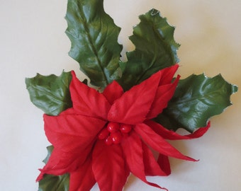 Large Red Poinsettia  Flower 1950's Corsage Pin #43