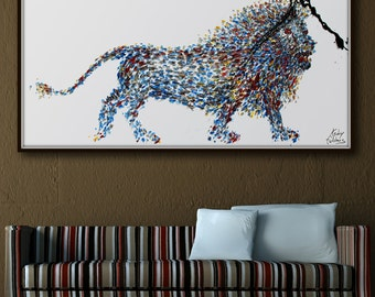 "Painting 60"" Animal Lion Abstract Painting  on canvas, Original & Hand Made Oil painting , Modern Art , Express Shipping, By Koby Feldmos"