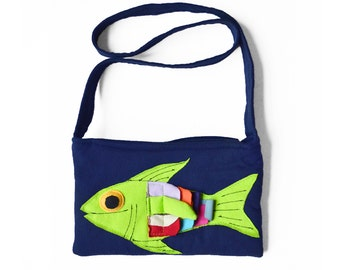 Navy Fish Purse
