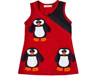 Christmas Holiday Penguin Dress in Red & Black