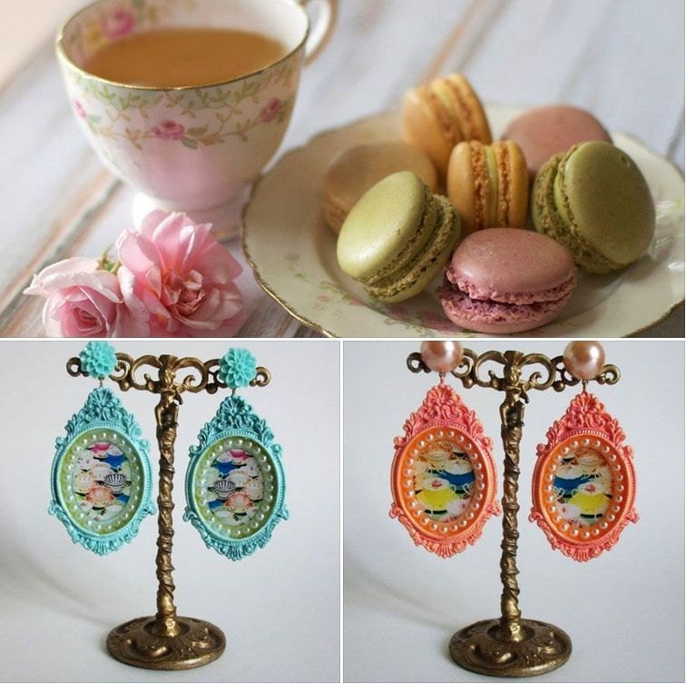 turquoise vintage cup earrings food jewelry sweets earrings