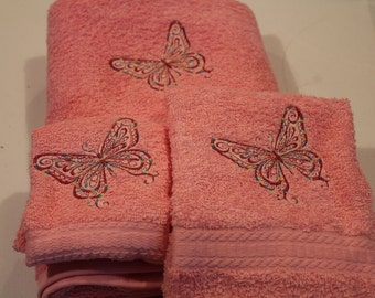 Embroidered Multi-colored Butterfly on  Pink or White Bath Towel set